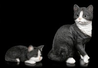 Baby Cat Figurine - Sleeping black & white
