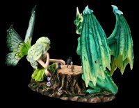 Fairy Figurine playing Chess with green Dragon