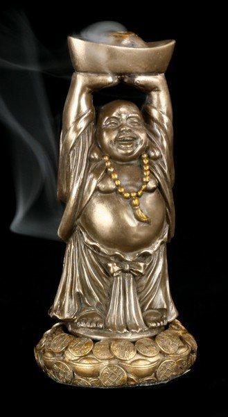 Räucherkegelhalter - Happy Buddha stehend