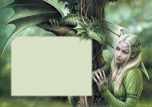 Fantasy Grußkarte Drachen - Dragonfly