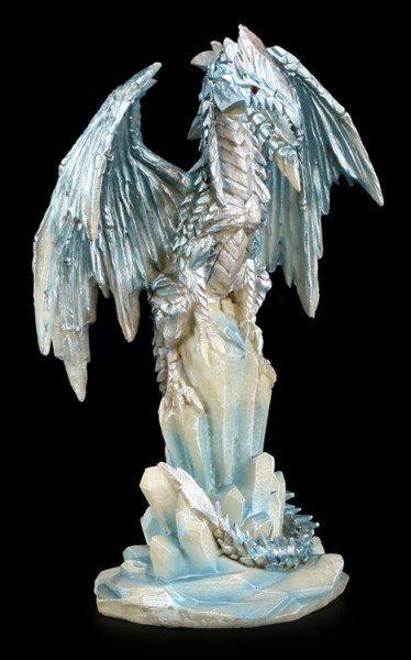 Drachen Figur - Eisdrache auf Kristallen