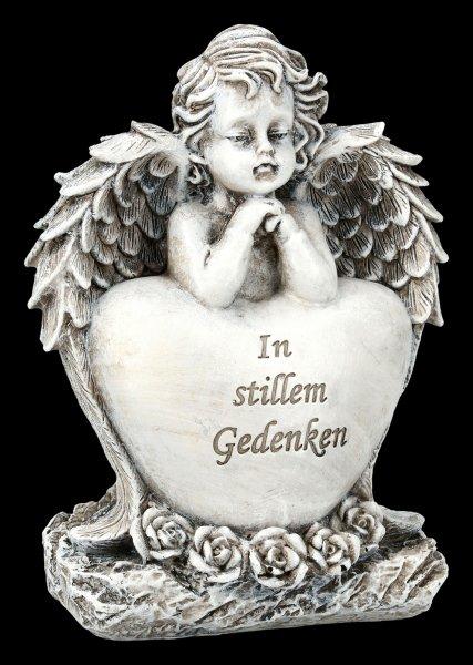 Grab Engel Figur mit Herz - In stillem Gedenken