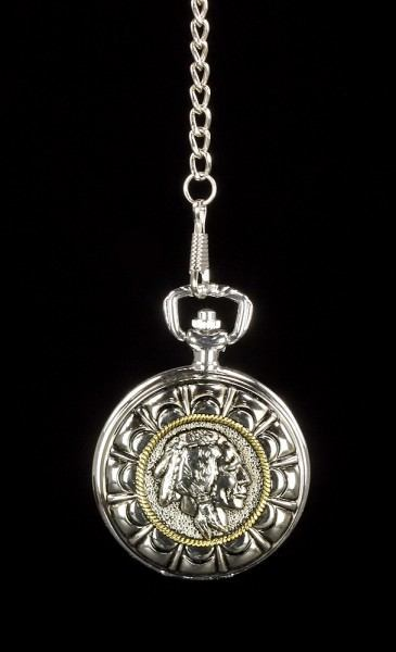 Preview: Pocket Watch - Indian Round End of Trail Silver Colors