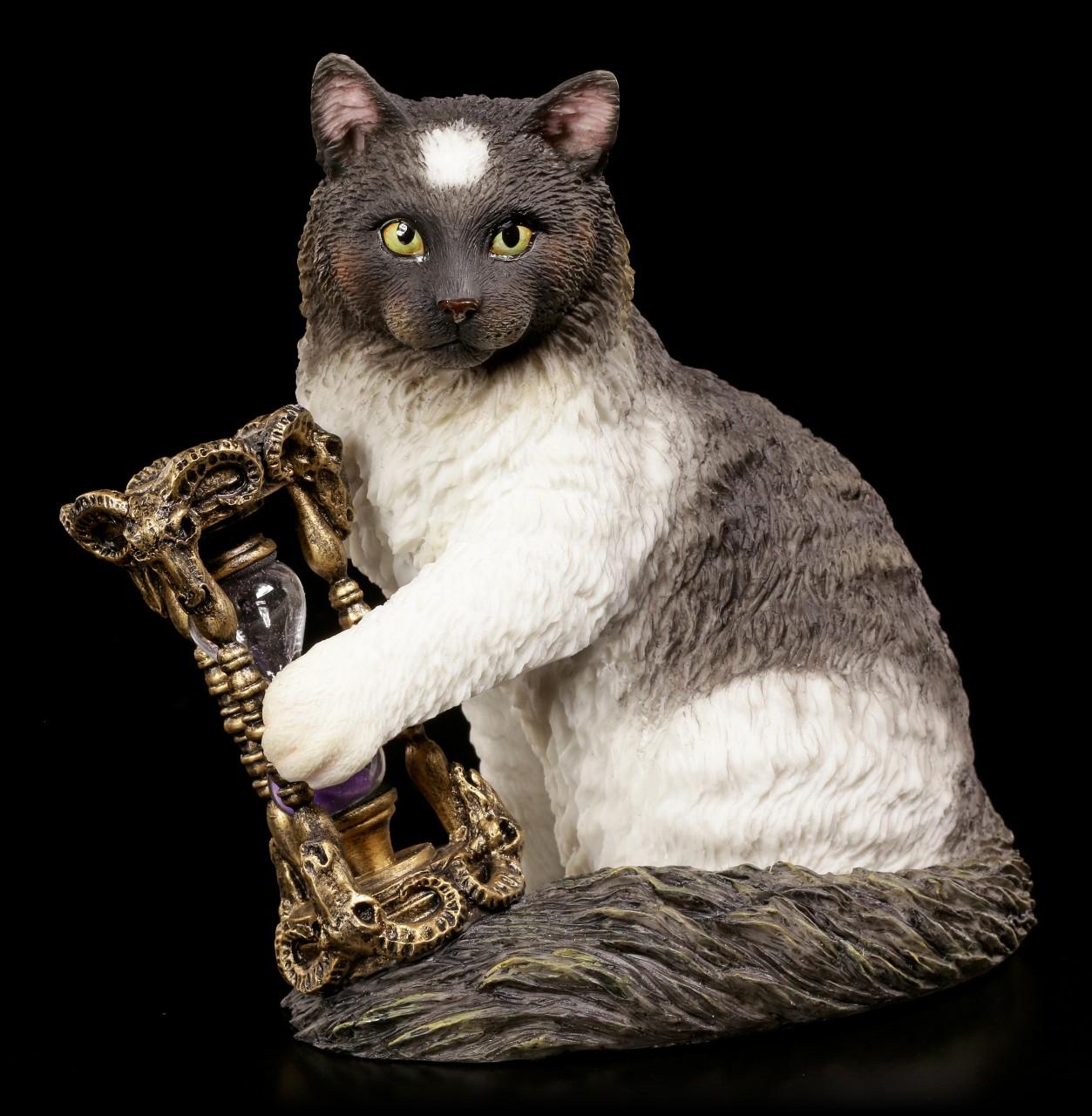Katzen Figur mit Sanduhr - Time's Up by Lisa Parker