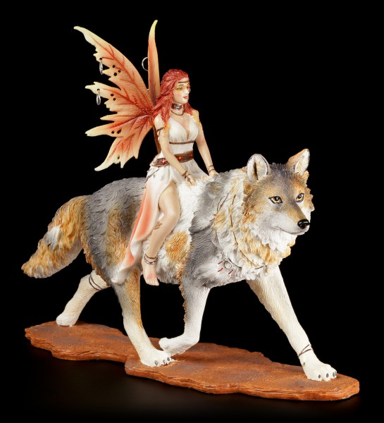 Fairy Figurine - Admina with Timba Wolf
