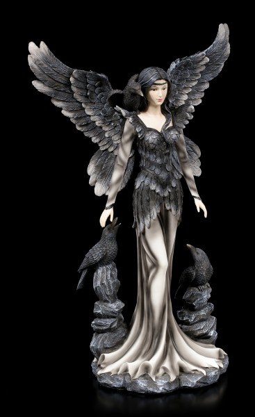 Large Dark Angel Figurine - Andra with Ravens