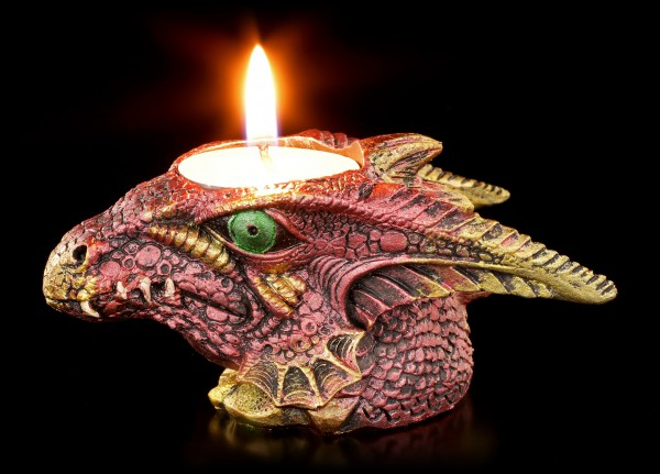 Tealight Holder - Small red Dragons Head