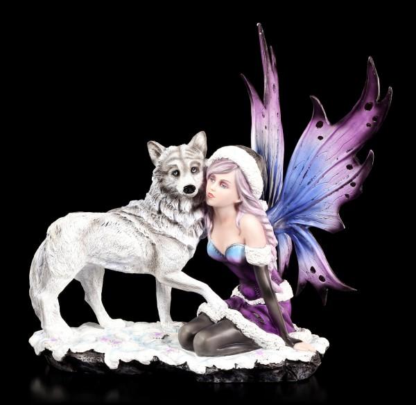 Elfen Figur mit Wolf - Winter Consort
