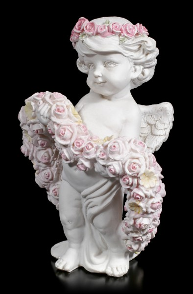 White Cherub Figurine in Roseheart