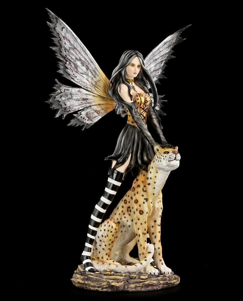 Große Elfen Figur - Leora mit Leopard