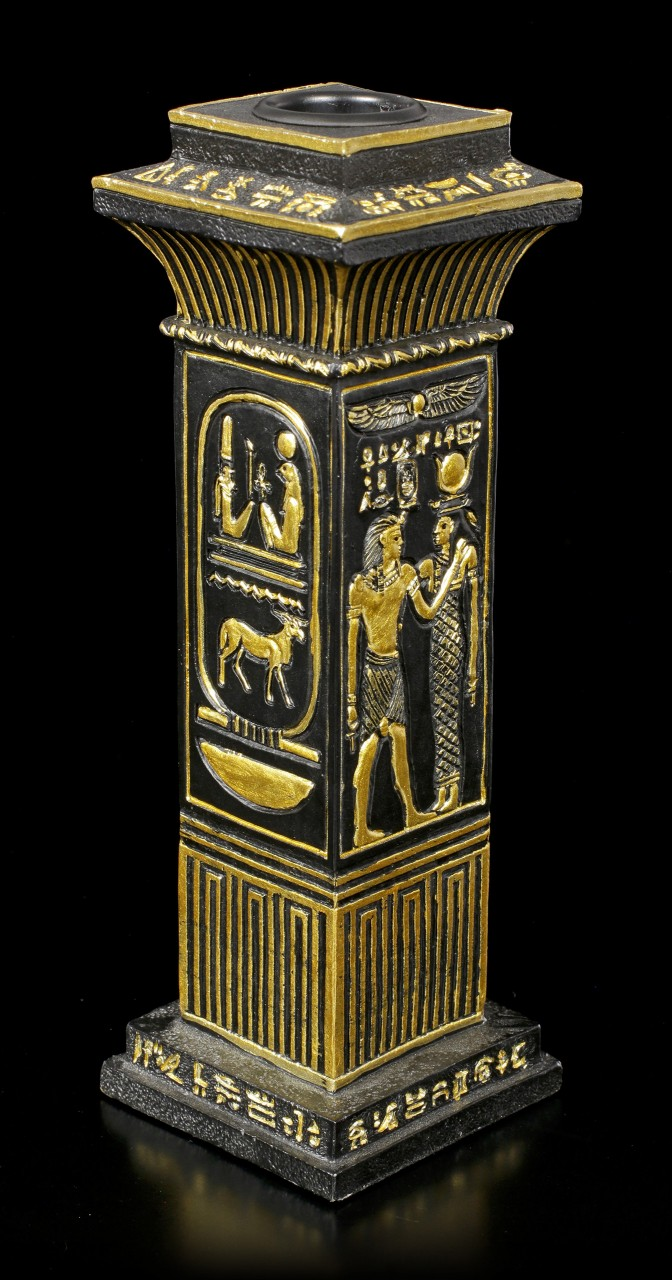 Egyptian Candle Holder - Column with Hieroglyphs