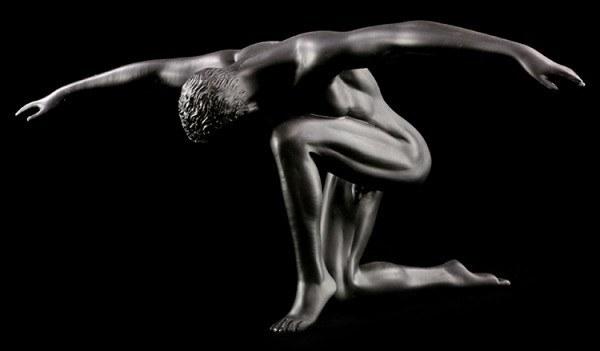 Male Nude Figurine - Tomas black