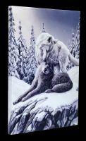 Kleine Leinwand Wölfe - Snow Kisses