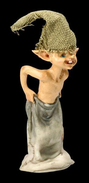 Pixie Kobold Figur beim Sackhüpfen