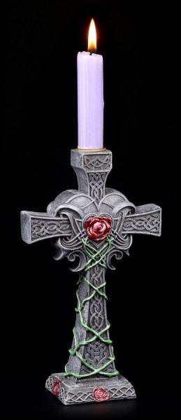 Kerzenhalter - Kreuz mit Rosen