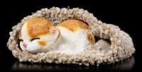 Cat Figurine asleep wrapped in grey Blanket
