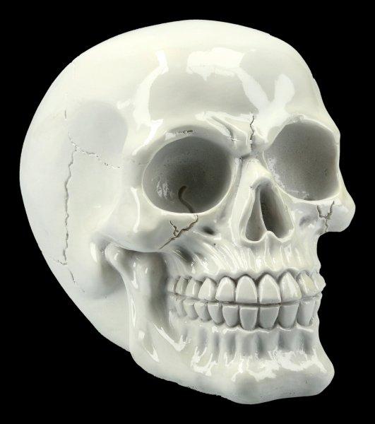 Totenkopf - glänzend weiß