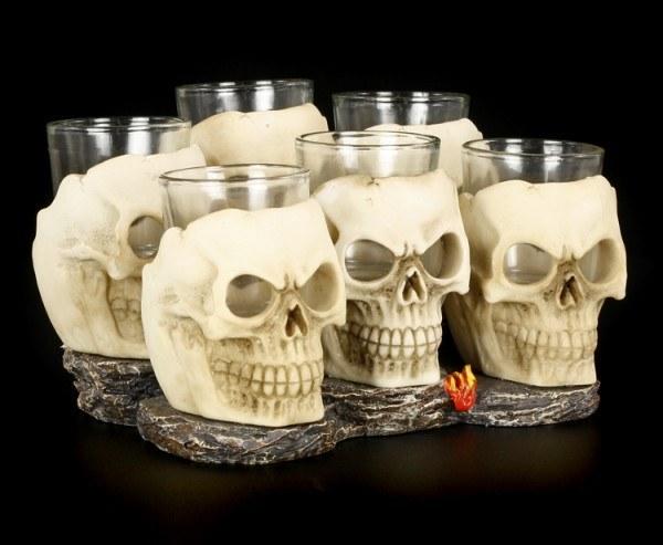 Skull Shot Glass - Set of 6 incl. Base