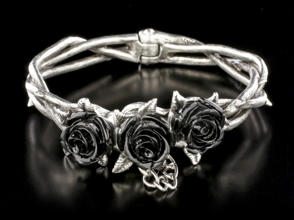 Alchemy Gothic Bangle - Wild Black Rose