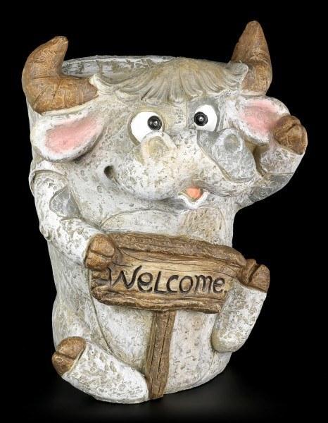 Gartenfigur - Kuh als Pflanzentopf - Welcome