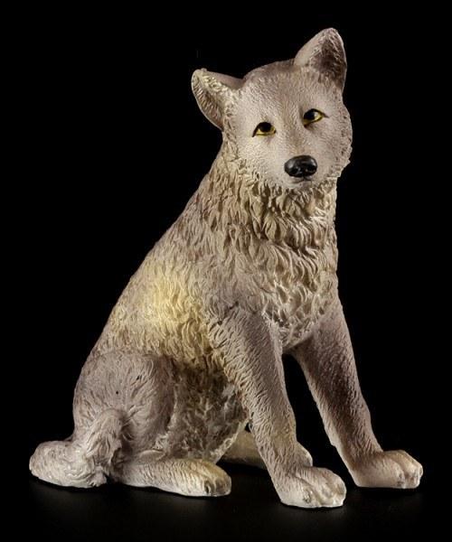 Sitting Wolf Puppy Figurine