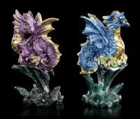 Small Dragon Figurines Sitting on Rock - Set of 4
