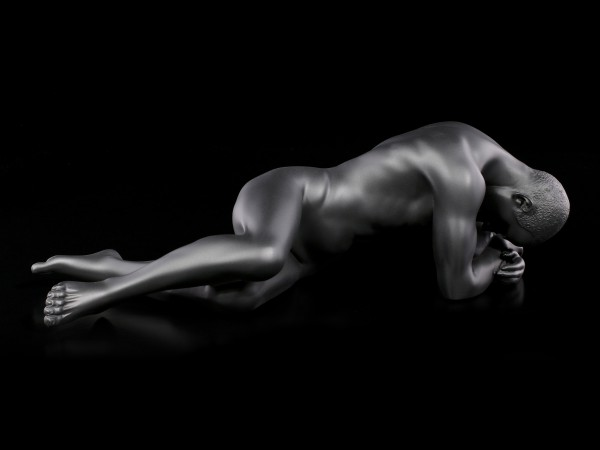 Male Nude Figurine - Lying on the Ground - black