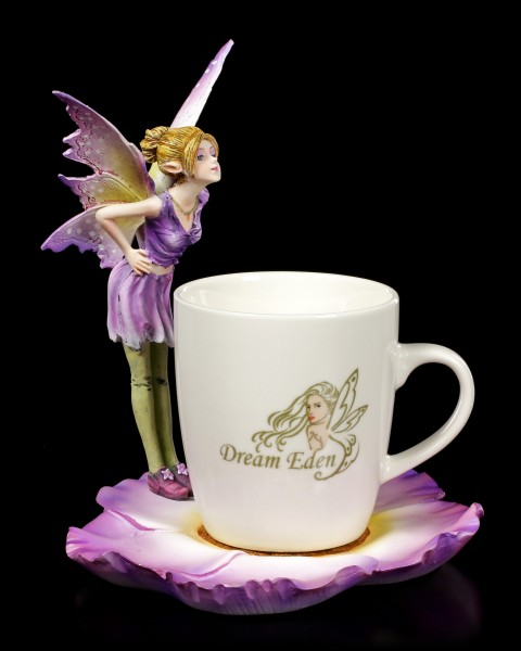 Elfen Figur mit Tasse - Purple Fairy Linda