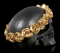 Black Skull with gold colored Crown of Roses