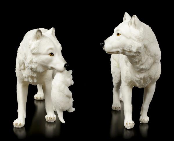 Wolf Figuren - Schneewolf Familie