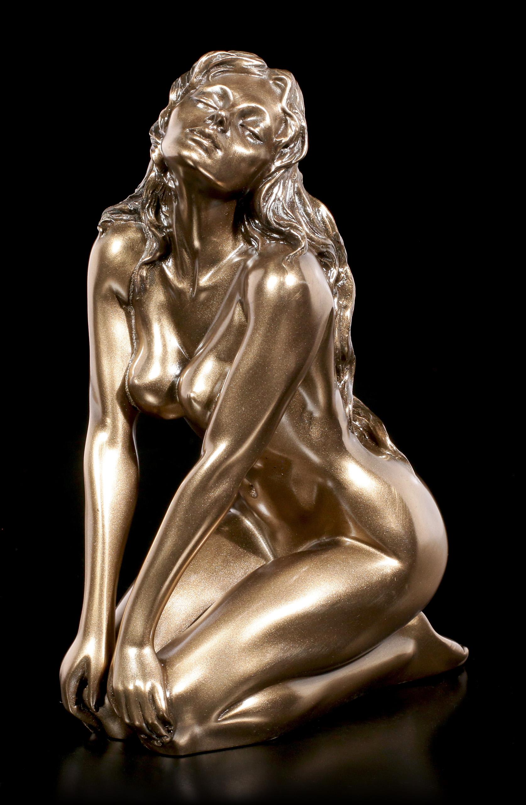 Figurine Nude Woman Kneeling Harmony arms Head Bronzed Sculpture by Veronese