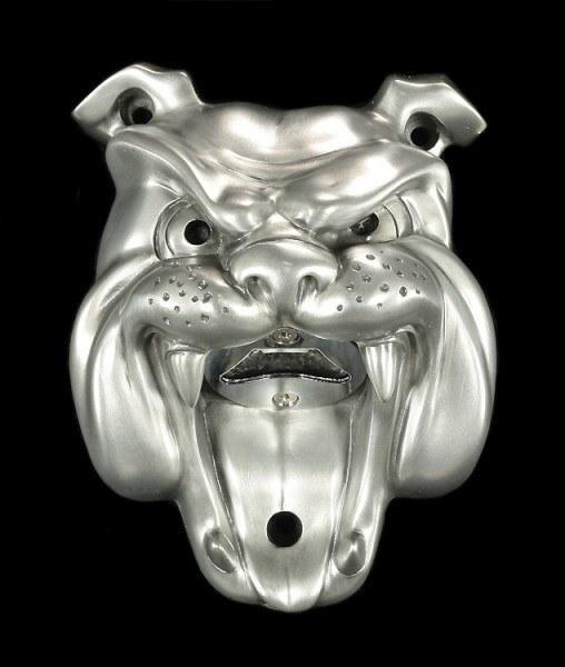 Flaschenöffner - Bulldogge - silberfinish