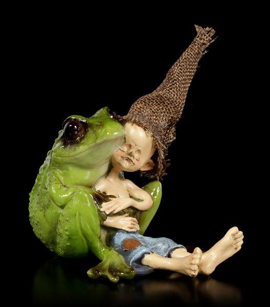 Pixie Goblin Figurine - Frog Cuddling