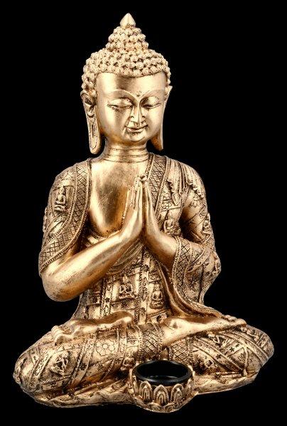 Sitzender Buddha Teelichthalter - goldfarben