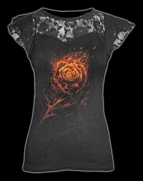 Netz Shirt - Burning Rose
