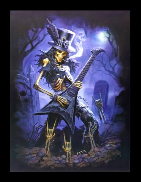 3D Bild mit Skelett Rocker - Play Dead