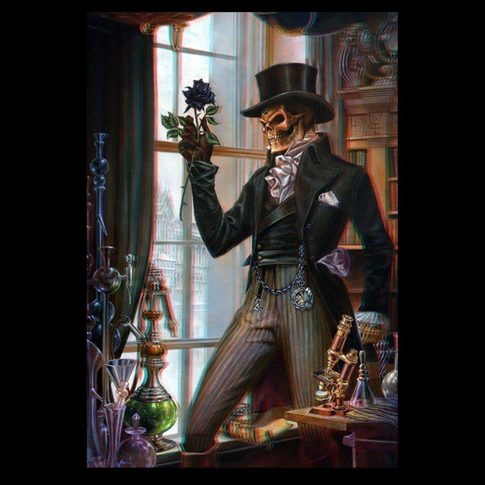 Mortuo Ergo Sum - 3D Skeleton Postcard