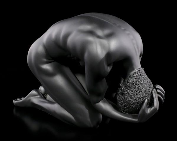 Male Nude Figurine - Kneeling on the Ground - black