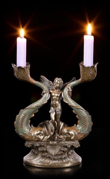 Candle Holder - Angel with Fishes