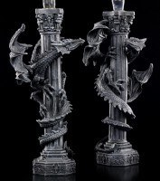 Candlestick - Dragon on Column - Set of 2