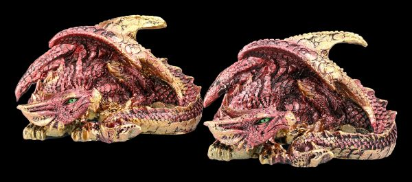 Dragon Figurine Set of Two - Red Fire Dragon