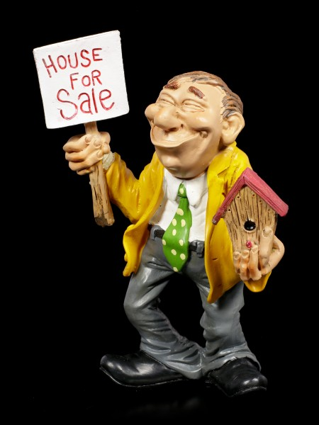 Funny Job Figurine - Estate Agent with Sign