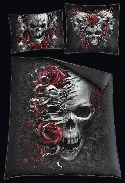 Totenkopf Doppel-Bettwäsche - Skull N' Roses