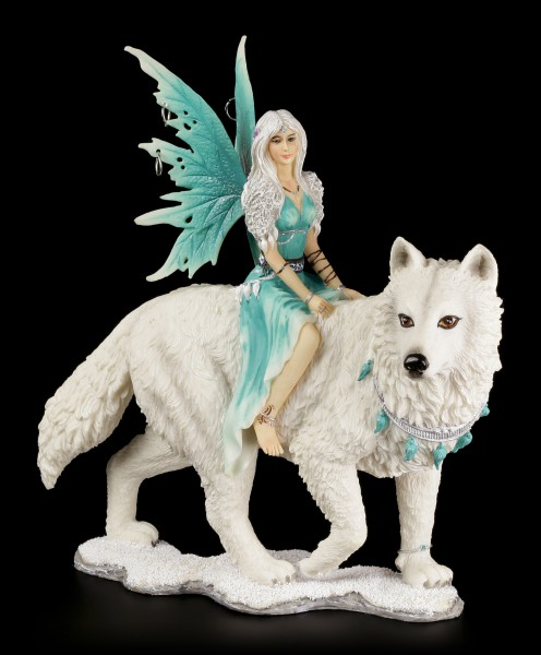 Fairy Figurine - Aneira with Snow Wolf