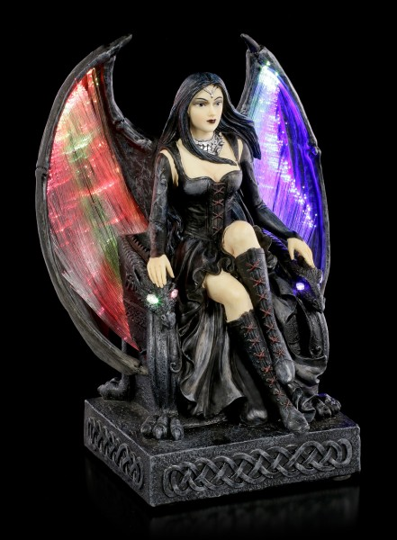 Gothic Fairy Figurine on Throne with LED