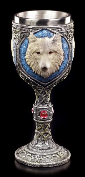 Fantasy Kelch - Einsamer Wolf mit rotem Diamant