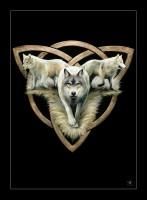 Kleine Leinwand mit Wölfen - Wolf Trio