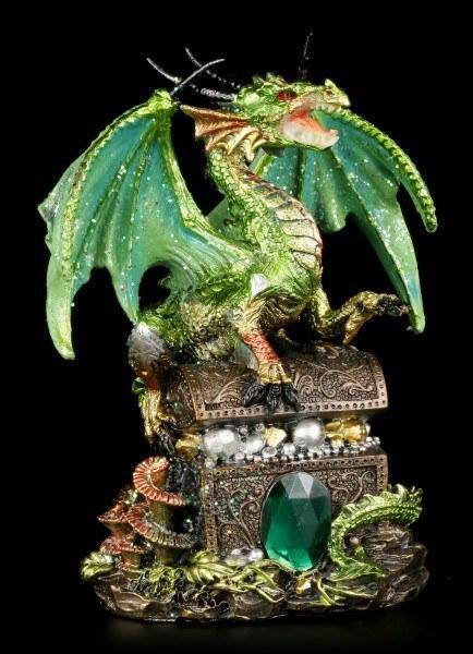 Drachen Figur - Grün mit Schatztruhe