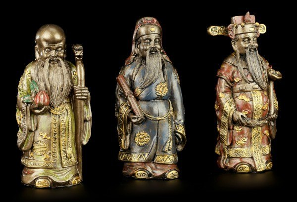 Three wise Monks Figurines - Fu Lo Shou