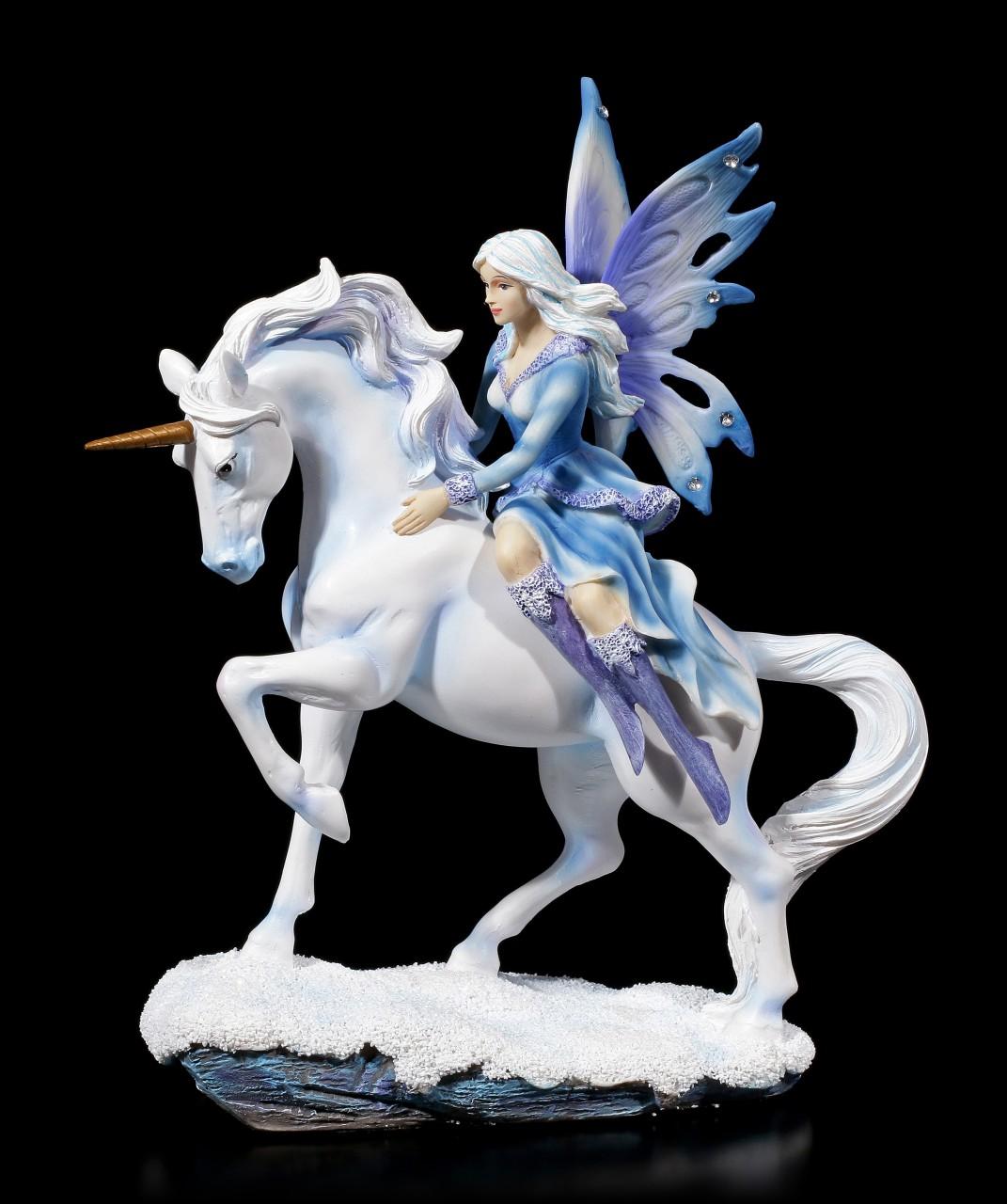 Elfen Figur mit Schmucksteinen - Dialya reitet auf Einhorn